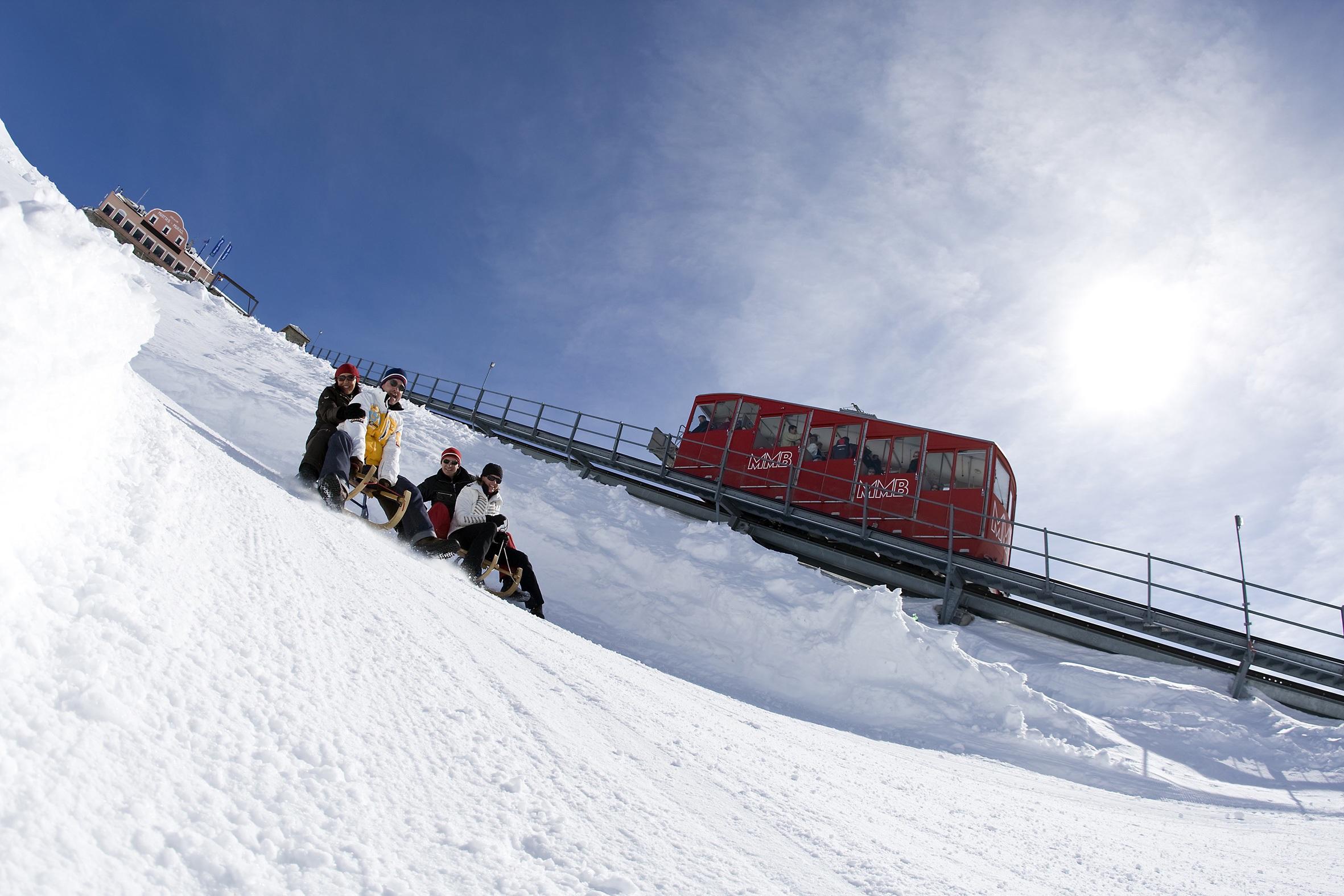 Schlitteln Muottas Muragl, © Engadin St. Moritz Mountains AG